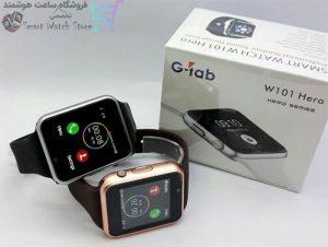 ساعت هوشمند جی-تب مدل W101 Hero در کنار جعبه